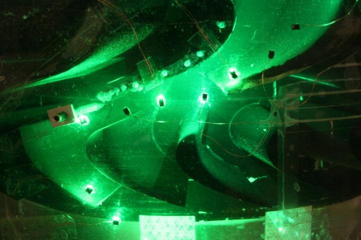 Optische Messungen in einer Turbinenstufe am vertikalen Wasserkanal