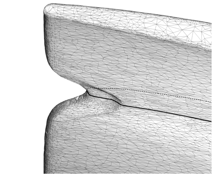 Digitalized surface of an eroded blade