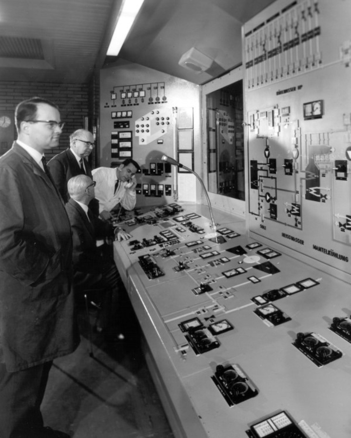 Consoles of the altitude test stand after its dedication in 1965.